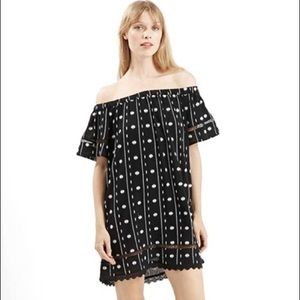 Topshop off the shoulder embroidered mini dress